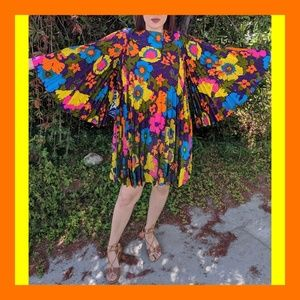 Vtg 60s GoGo Dancer Flower Power Psychedelic Dres